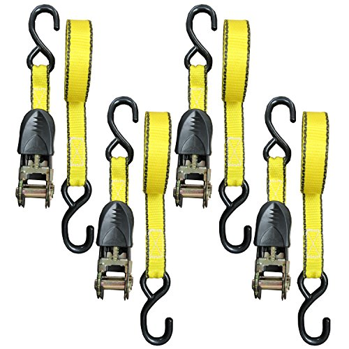 Everest Tough-Tech Series Heavy Duty Premium Ratchet Tie Down Strap - 4 pack - 1 inch - 15 Ft - 500 lbs Load Cap - 1500 Lb Break Strength - Cargo Strap for Moving Appliances, Lawn Equipment, Motorcycle, Camping Equipment, Outdoor Activities, Reengineered Handle GUARANTEED TO NOT FALL OFF (Bed Truck Straps compare prices)