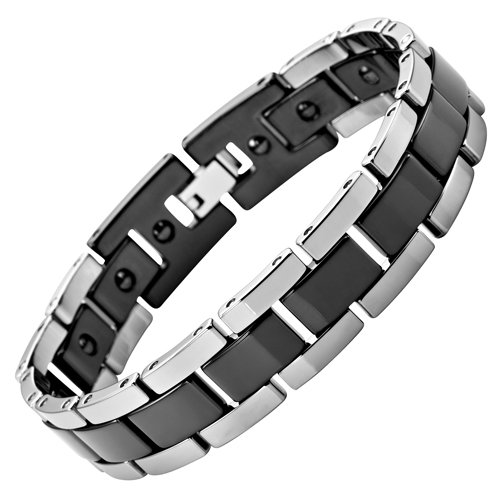 Willis Judd Mens Black And Silver Polished Tungsten Magnetic Bracelet In Free Black Velvet Gift Box