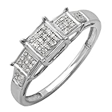 buy 0.15 Carat (Ctw) Sterling Silver Round Diamond Ladies Past Present Future Ring (Size 7)