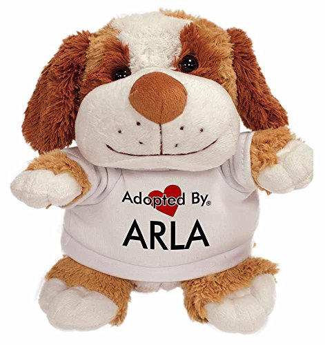adopted-by-arla-cuddly-dog-teddy-wearing-a-printed-named-t-shirt