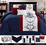 Embroidered Nantucket 7 Piece Bedding Navy Blue / Red / White (California) Cal King Comforter Set with accent pillows