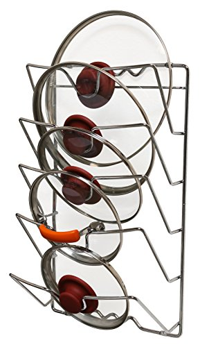 DecoBros Wall Door Mounted Pot Lid Rack, Chrome Finish (Pot Pan Holder Rack compare prices)