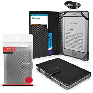 """ORZLY® Case for Amazon KINDLE - BLACK Carbon Fibre Folio Case with Clip-On LED Reading Lamp - Limited Edition TEXTURED Cover Pouch from Orzly for 6 inch Amazon Kindle 4 e-Reader (aka / Gen4 / Generation 4 2011 Release Model / Amazon Kindle Wi-Fi, 6"""" E Ink Display)"""