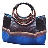 Krajud Bag Basketworkthai Style Handmade Decorative Bag with Silk and Sky Blue Cotton/handbag for Women