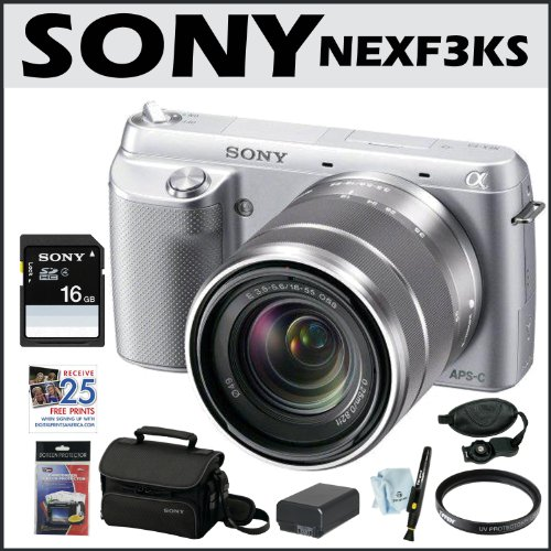 Sony NEX-F3K/S NEX F3 NEX 3 NEXF3KS NEX-F3 DSLR 16.1 MP Compact System Camera with 18-55mm Lens + Sony 16GB SD Card + Sony Case + Extra Battery + Tiffen Filter + Accessory Kit