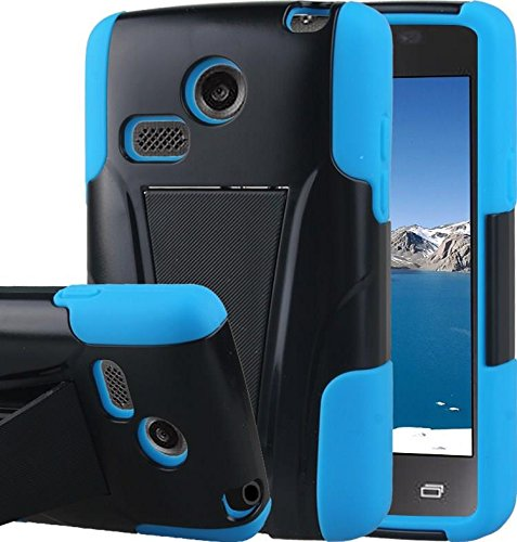 LG Sunrise Case, LG Lucky Case - Armatus Gear (TM) DUO SHIELD Hybrid Armor Case Phone Cover For NET10 LG Sunrise L15G and TRACFONE LG Lucky L16C - Blue / Black (Net10 Lg compare prices)