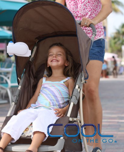 Stroller Fan-Cool On The Go® - The World'S Frist Versatile Hands-Free Personal Air Cooling System. Small Fan Cooler Powered By Usb Or Batteries. White / Purple