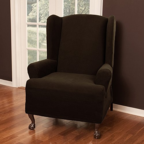 Maytex Pixel Stretch 1-Piece Slipcover Wing Chair, Chocolate (Chocolate Brown Chair compare prices)