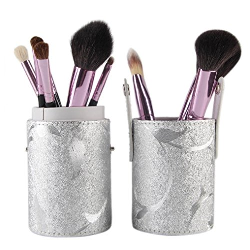 AMA(TM) 12pcs Set Professional Makeup Brushes Cosmetic Sets Kits Eyeshadow Brush Make-up Toiletry Tools + Leather Cup Holder Case (Silver)