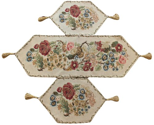 3 Piece Floral Tapestry Country Rustic Morning Meadow Table Runner Set