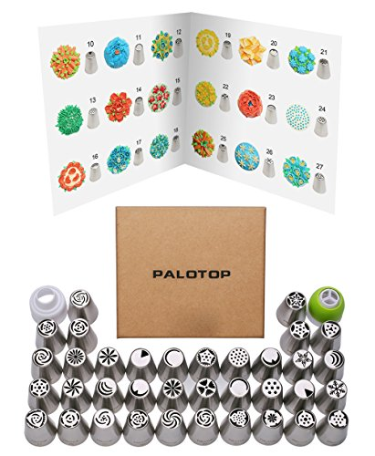 PALOTOP Updated Version Russian Piping Tips 58-Pcs Set (36 Russian Tips 1 Coupler 1 tri-color coupler 20 Disposable Pastry Bags) DELUXE Russian Icing Tips Set with Online Instructional Videos