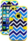 myLife Yellow + Blue Zig Zag Style 3 Layer (Hybrid Flex Gel) Grip Case for New Apple iPhone 5C Touch Phone (External 2 Piece Full Body Defender Armor Rubberized Shell + Internal Gel Fit Silicone Flex Protector)