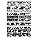 (13x19) Mother Teresa Anyway Quote Motivational Poster
