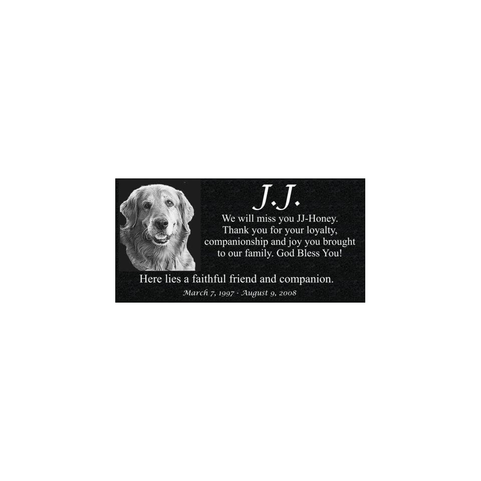 Pet Memorial   Personalized Granite Pet Memorial with Photo