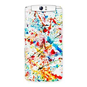 Enticing Paint Scribble Multicolor Back Case Cover for Oppo N1