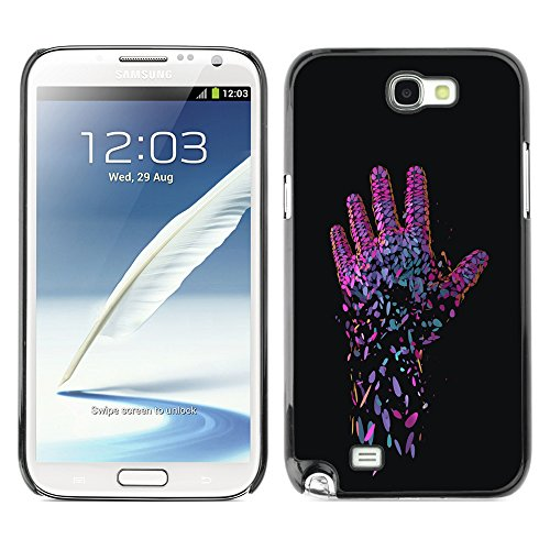 DesignCase Premium Slim PC / Aluminium Combo Schutz Hülle Tasche Slim Case Cover Armor - Neon Pink Hand - Samsung Note 2