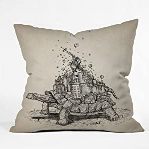 DENY Designs Brandon Dover Tortoise Town Throw Pillow, 26-Inch by 26-Inch