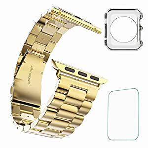 Apple Watch Band,T-Trees 42mm (3) Stainless Steel Metal Replacement Strap Wrist Band For Apple Watch + Free Screen Protection Film + Free Apple Watch TPU Ultra-Thin Case (42mm (3) Gold)