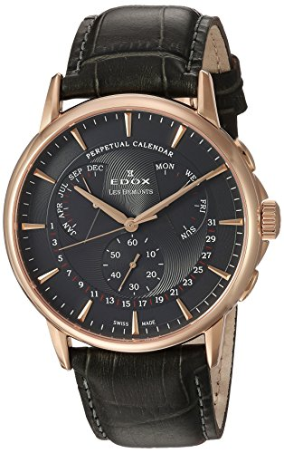 Edox-Mens-Les-Bemonts-Swiss-Quartz-Stainless-Steel-and-Leather-Dress-Watch-ColorGrey-Model-01602-37R-GIR
