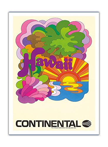hawai-continental-airlines-art-psychedelique-airline-affiche-vintage-de-voyage-vintage-airline-trave