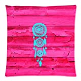 Dreamcatcher Girly Pink Fuchsia Wood Pillow Case 20x20 (two sides)