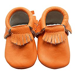 Sayoyo Baby Orange Tassels Soft Sole Leather Infant Toddler Prewalker Shoes (18-24 months, Orange)