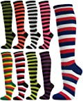 COUVER Women's Striped Knee High Casual Tube Cotton Socks