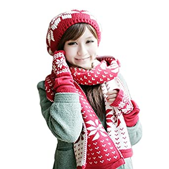 Amazon.com: Warm Winter Knitted Reversible Scarf Hat