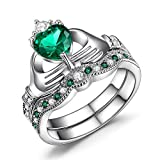 Caperci Sterling Silver Claddagh Ring, Heart Shaped Green Cubic Zirconia Wedding Engagement Ring Sets size 7