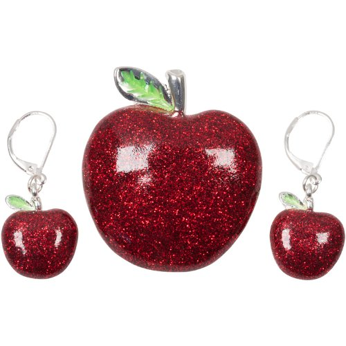 Heirloom Finds Large Red Glitter Bling Apple