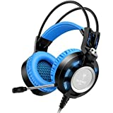 Stereo Wired Headset Over Ear Gaming Headphones With Mic LED Lighting For Laptop PC Computer Black Blue