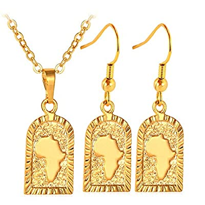 U7 African Style Jewelry 18K Gold Plated Women Fish Hook Earrings & Map Solitaire Pendant Necklace