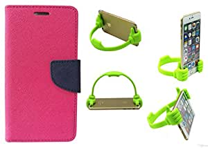 Novo Style Book Style Folio Wallet Case Motorola Moto E3 Pink + Ok Stand For Smartphones And Tablets
