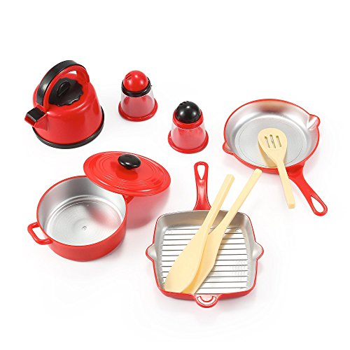 Kitchen Cookware Pots and Pans Playset for Kids with Kettle, Cooking Utensils Set, Salt and Pepper Shakers (Children Pot And Pans compare prices)