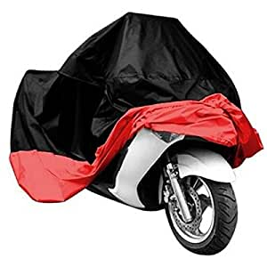 Motorcycle Bike Electric Vehicle Waterproof Cover Rain UV Dust Prevention Cover Black & Red XL