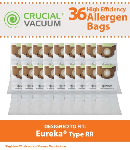 36 Eureka Style RR Vacuum Bags Designed to Fit Eureka 4800 Series Upright Vacums, Compare To Part # 61115, 61115A, 61115B, 63295A, Designed & Engineerd By Crucial Vacuum (Eureka Upright Rr Bags compare prices)
