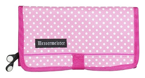 Messermeister 10-Pocket Padded Gadget Roll, Pink With White Dots