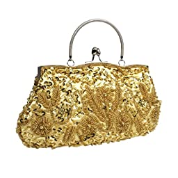 BMC Gold Beaded Sequin Design Metal Frame Kissing Lock Clasp Satin Interior Evening Clutch - Exuding Eloquence Collection
