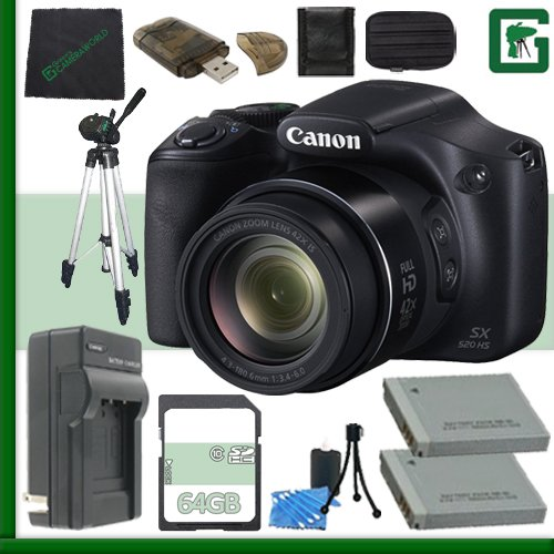 Canon PowerShot SX520 HS Digital Camera (Black) + 64GB Green's Camera Bundle 2 (Canon Sx520 Hs Powershot compare prices)