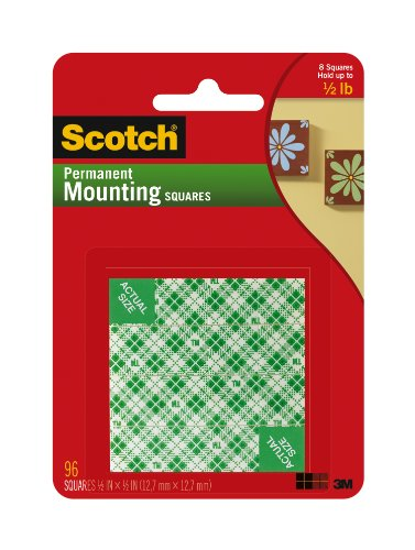 Scotch(R) Foam Mounting Squares Permanent , 1/2 X 1/2-Inches,White (111-Sml)