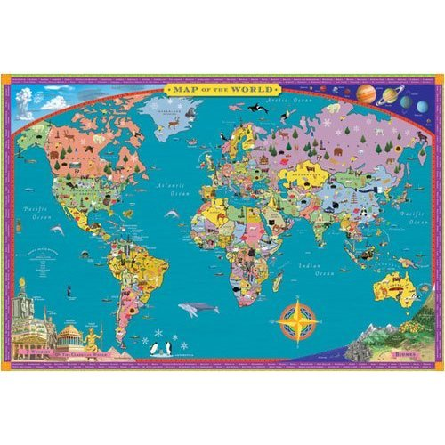 Buy world map kids geography educational wall hanging poster art buy world map kids geography educational wall hanging poster art gumiabroncs Images