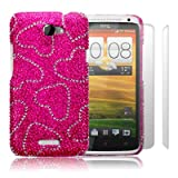 HTC One X Love Hearts Diamante Case / Cover / Shell / Shield + 2-in-1 Screen Protector Pack Part Of The Qubits Accessories Range