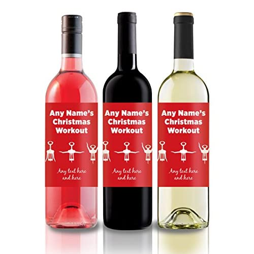 Personalised Funny Christmas Wine Label, great gift idea for family & friends and secret santa! Christmas Workout...