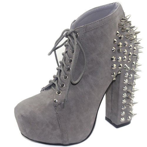 Nature Breeze Francheska-07 Leatherette Spikes Studs Bootie