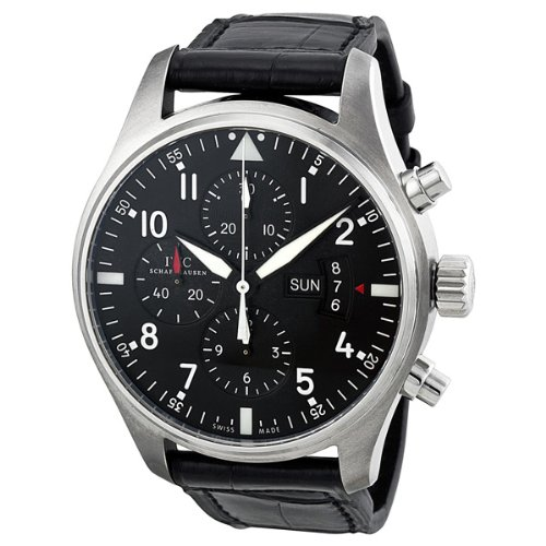 IWC Pilot Black Dial Chronograph Automatic Mens Watch