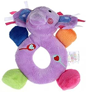 14*13cm Baby Girls Boy Infant Mini Hand Rattle Animal Soft Plush Doll Educational Toys Stuffed & Plush Animals (Elephant Purple)