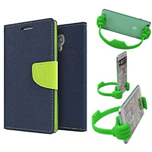 Aart Fancy Diary Card Wallet Flip Case Back Cover For Motorola Moto X3 - (Blue) + Flexible Portable Mount Cradle Thumb Ok Stand Holder By Aart store
