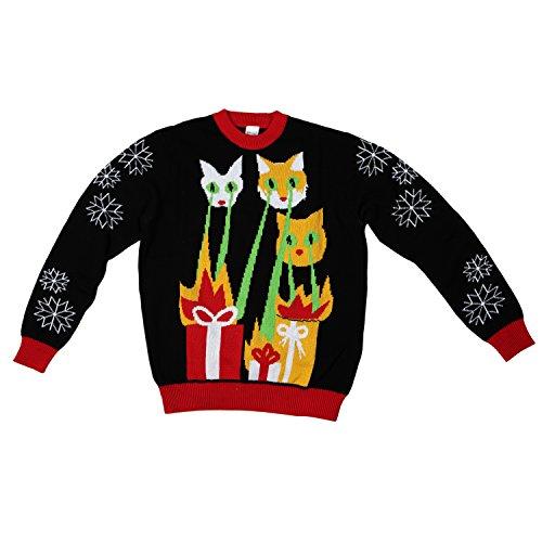 Laser Cat-Zillas Ugly Christmas Sweater-FunQi, Black (Medium)