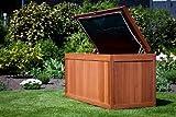Auflagenbox, Meranti – Hartholz, natur, Innentasche aus Polyester, Gartentruhe
