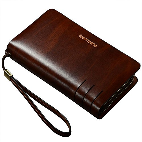 Teemzone-Mens-Genuine-Leather-Clutch-Bag-Handbag-Organizer-Checkbook-Wallet-Card-Case